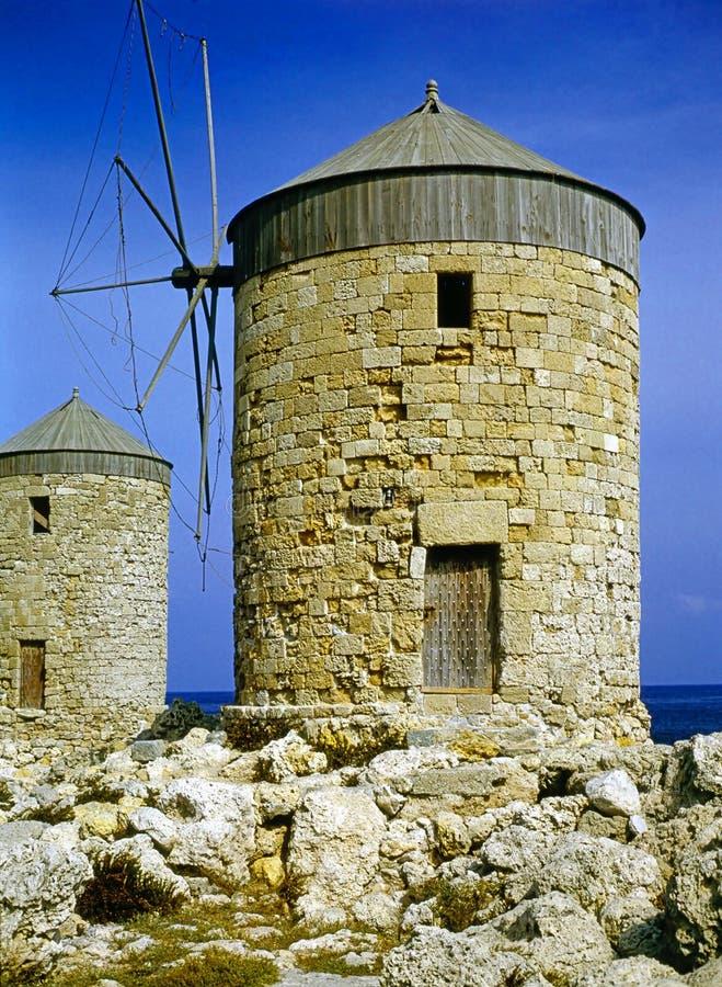 Windmolens, Rhodos stock afbeelding