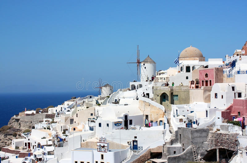 Windmolens in Santorini stock foto