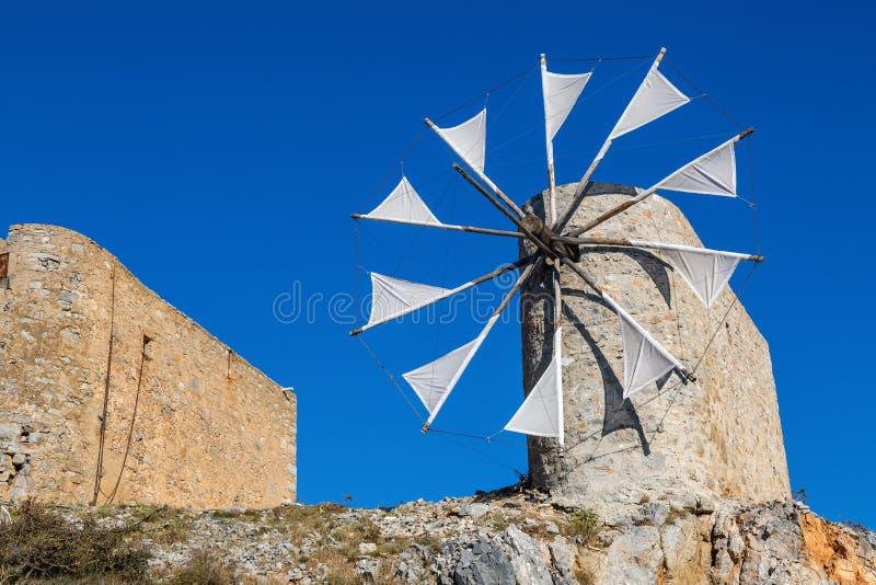 Windmolens van het Plateau van Lasithi, Kreta stock afbeelding
