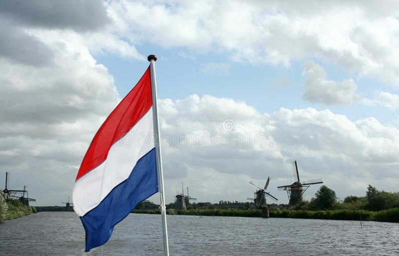 Windmolens van Kinderdijk in Holland royalty-vrije stock foto