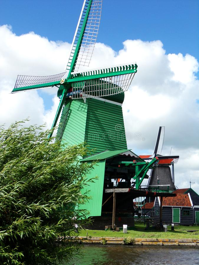 Windmolens van Zaanse Schans in Zaandem, Holland, Nederland royalty-vrije stock fotografie