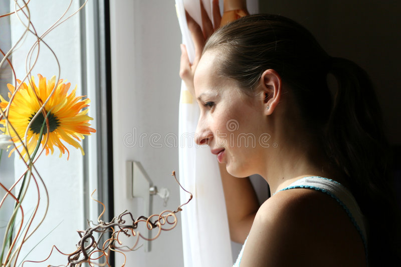 Download At the window stock photo. Image of portrait, flower, face - 2839312