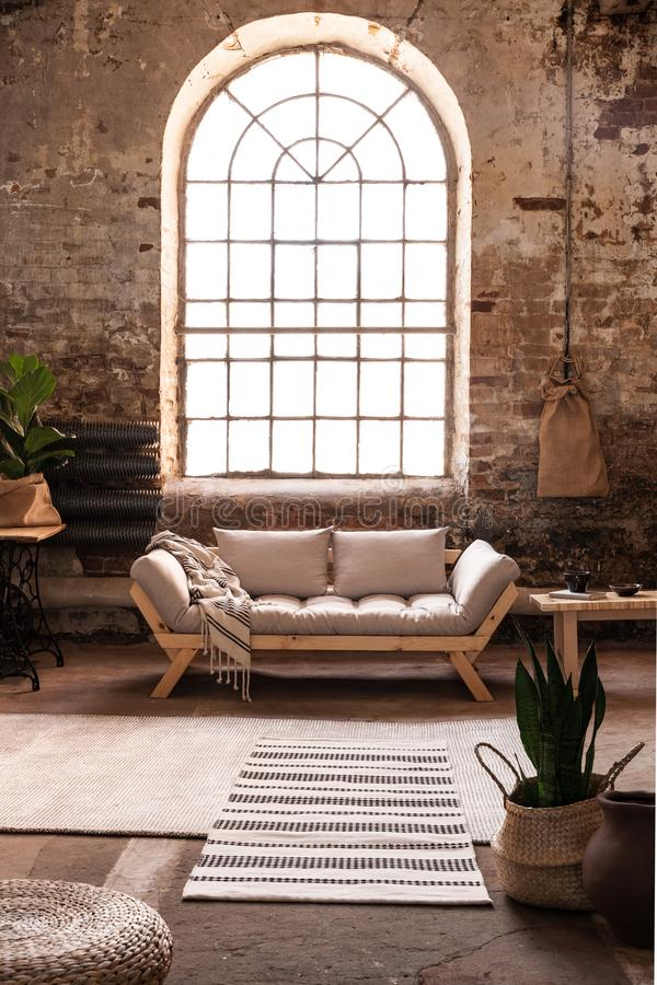 Window above grey wooden sofa in spacious loft interior in wabi sabi style with plant and carpet. Real photo royalty free stock photo