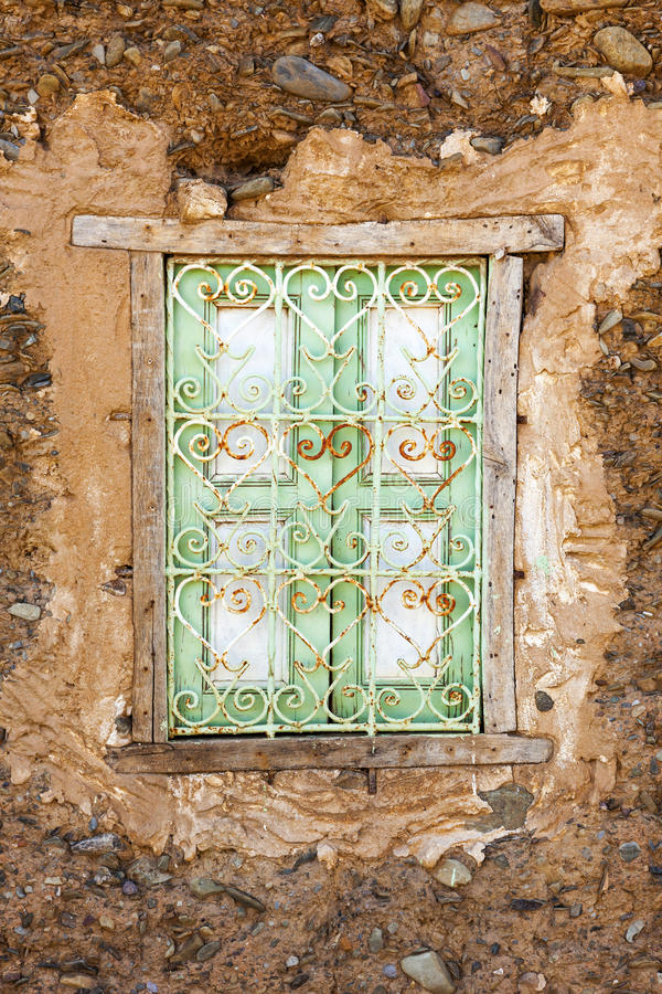 Window of adobe house stock photo