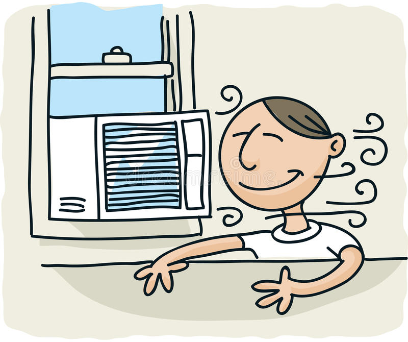 Window Air Conditioner. A cartoon man enjoys the breeze from a window air conditioner stock illustration