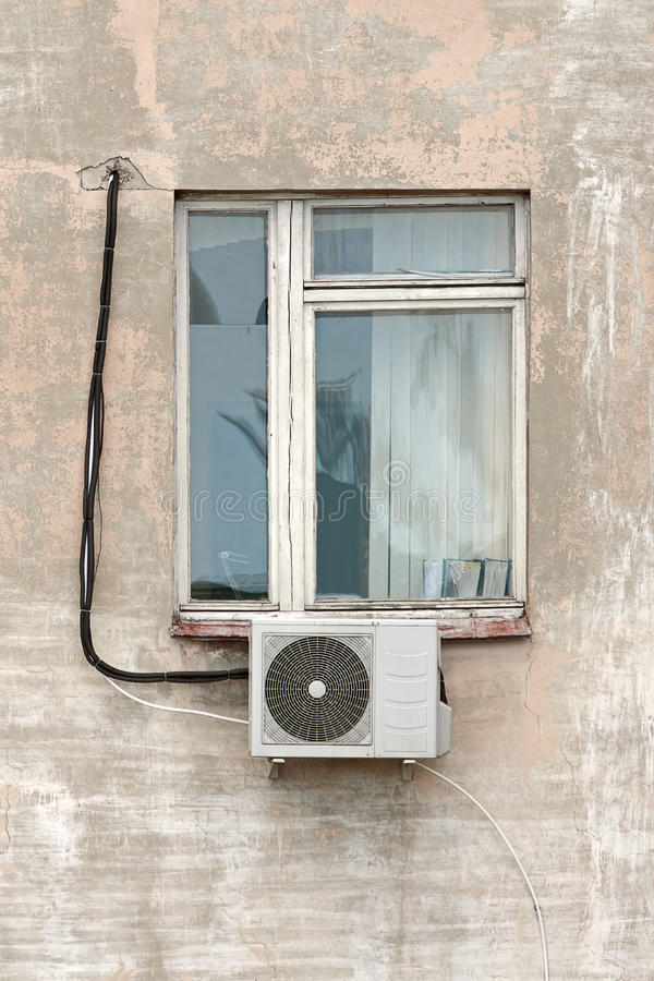 Window with air conditioning stock photos