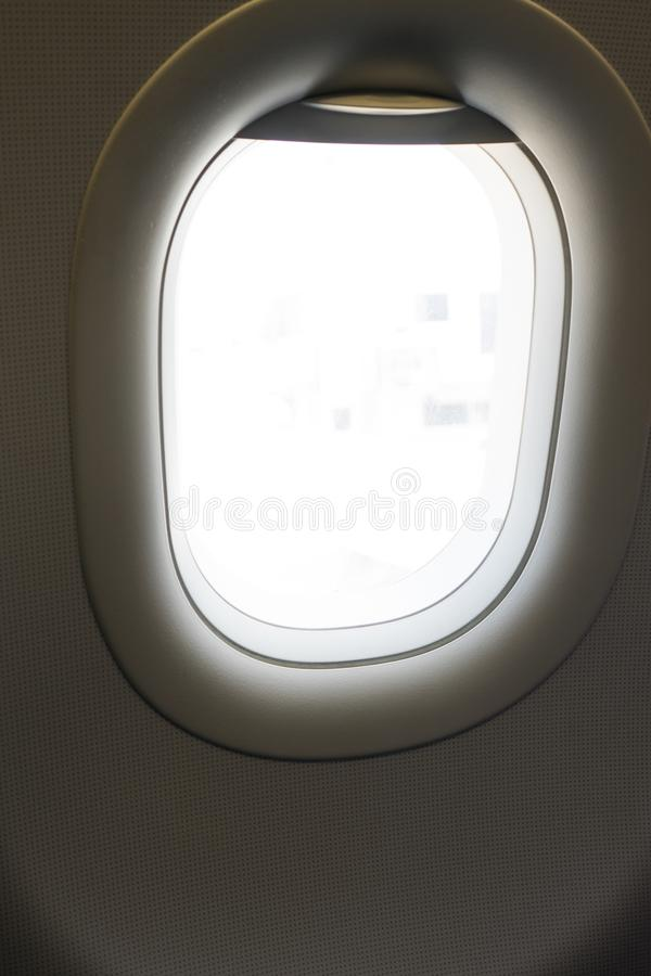 Window in airplane for look outside royalty free stock image