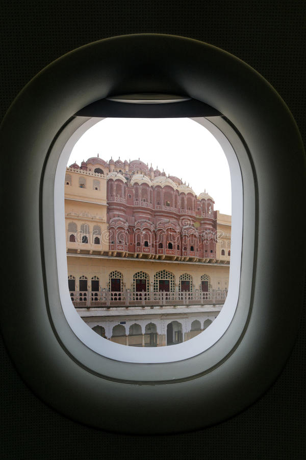The window of airplane with travel destination attraction. palace of winds india jaipur rajasthan, India stock image