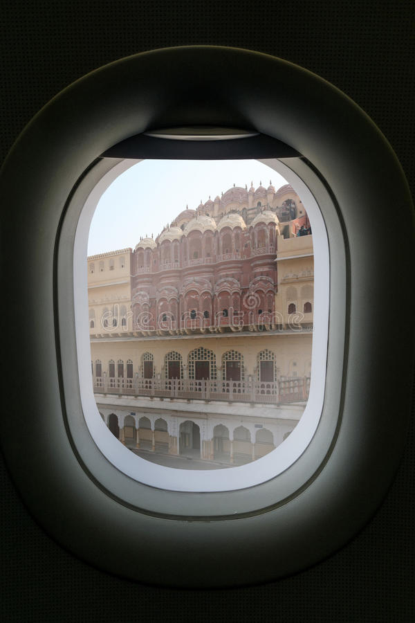 The window of airplane with travel destination attraction. palace of winds india jaipur rajasthan, India stock images