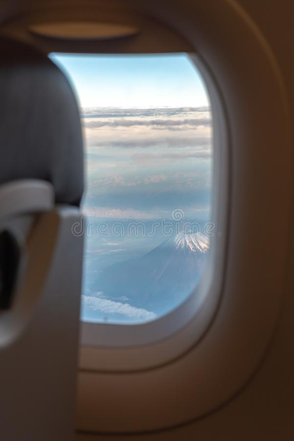 The window of the airplane. stock image