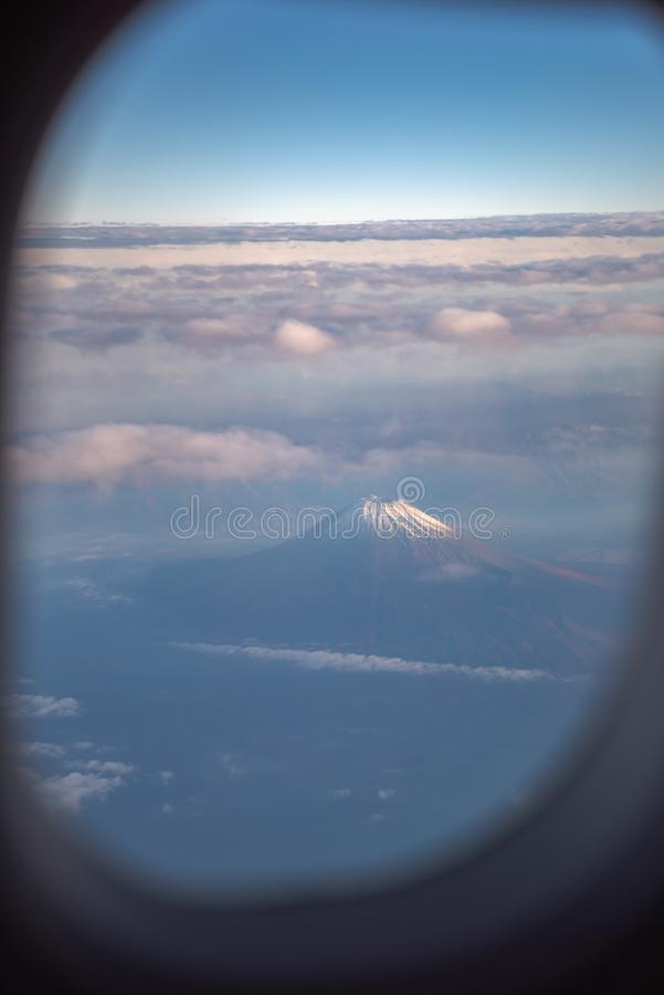 The window of the airplane. stock photography