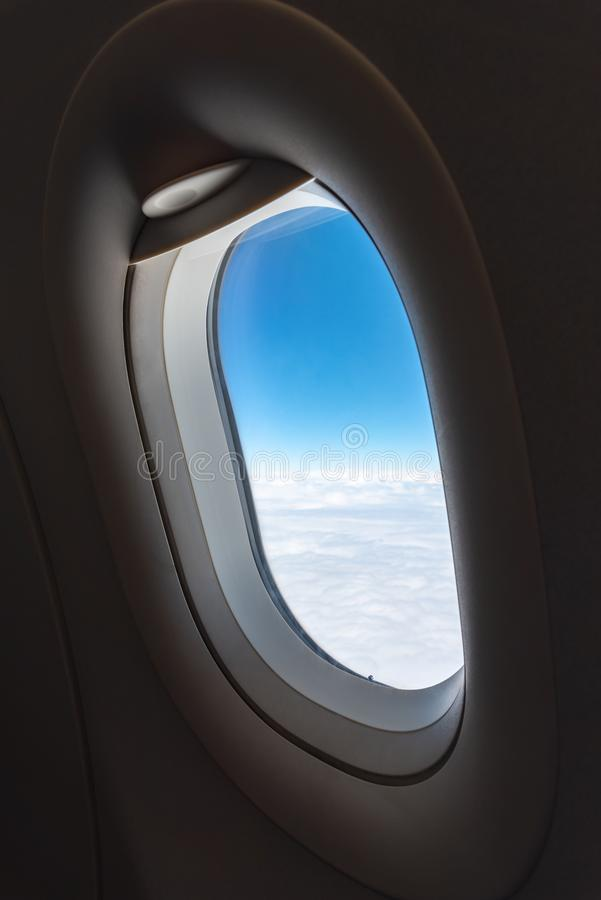 The window of the airplane. stock photo