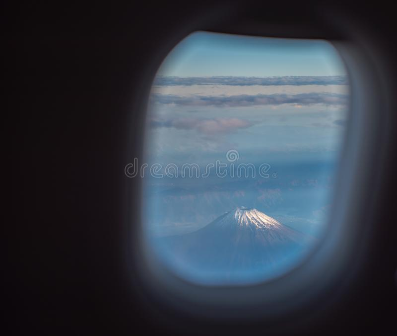 The window of the airplane. stock images