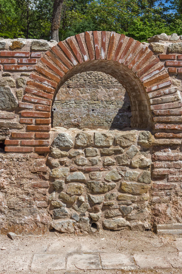 Window in The ancient Thermal Baths of Diocletianopolis, town of Hisarya, Bulgaria. Window in The ancient Thermal Baths of Diocletianopolis, town of Hisarya stock image
