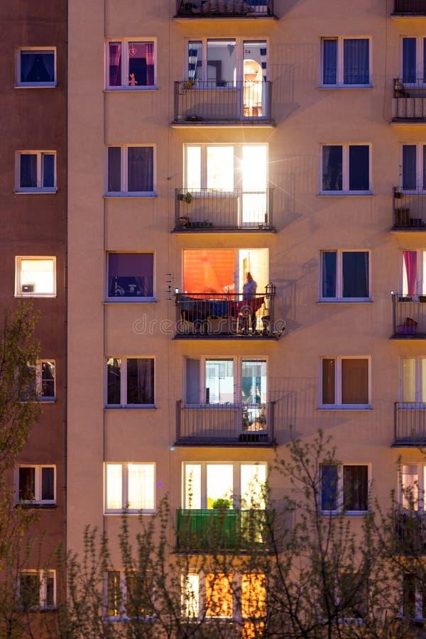 Window of an apartment block. At night royalty free stock photos
