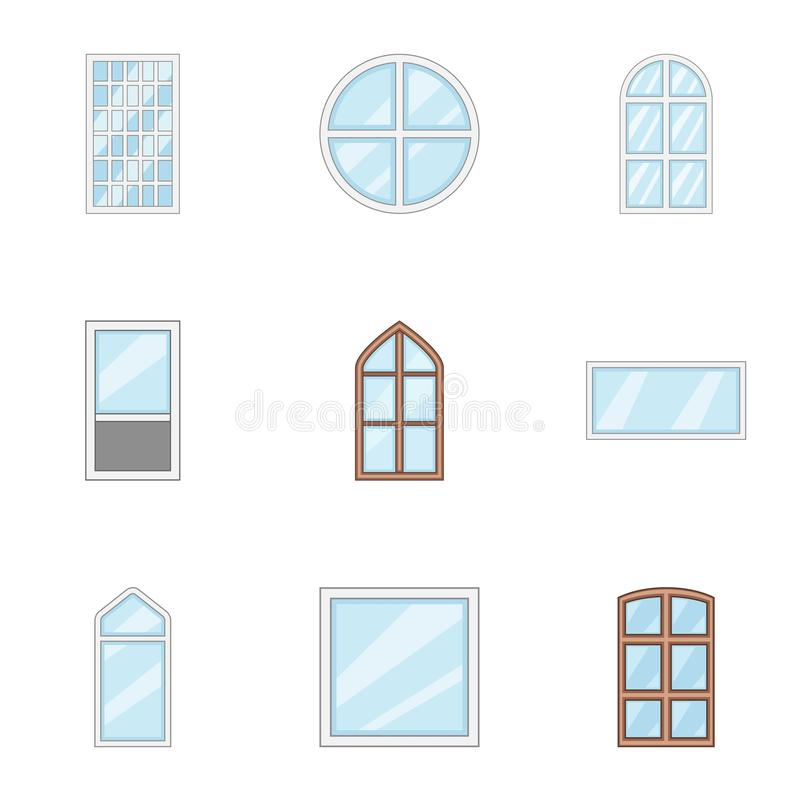 Window aperture icons set, cartoon style. Window aperture icons set. Cartoon set of 9 window aperture vector icons for web isolated on white background stock illustration