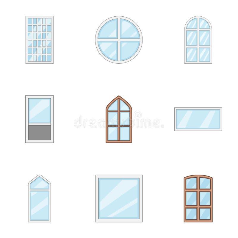 Window aperture icons set, cartoon style stock illustration