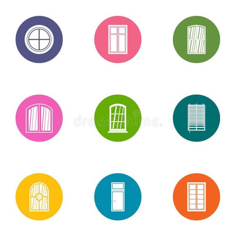 Window aperture icons set, flat style. Window aperture icons set. Flat set of 9 window aperture vector icons for web isolated on white background stock illustration