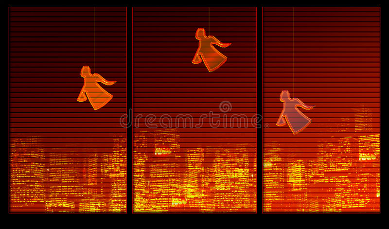 Window background series. Angels on the window royalty free illustration
