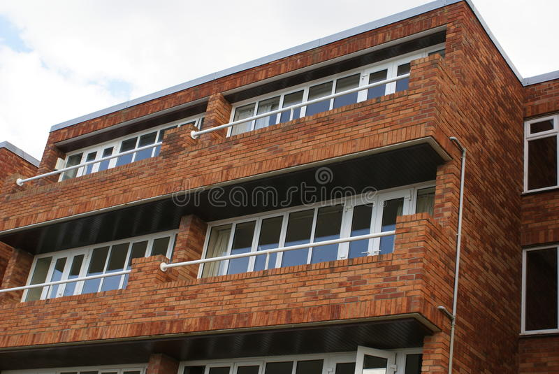 Window balconies. Outdoor urban view of a facade with window balconies royalty free stock images