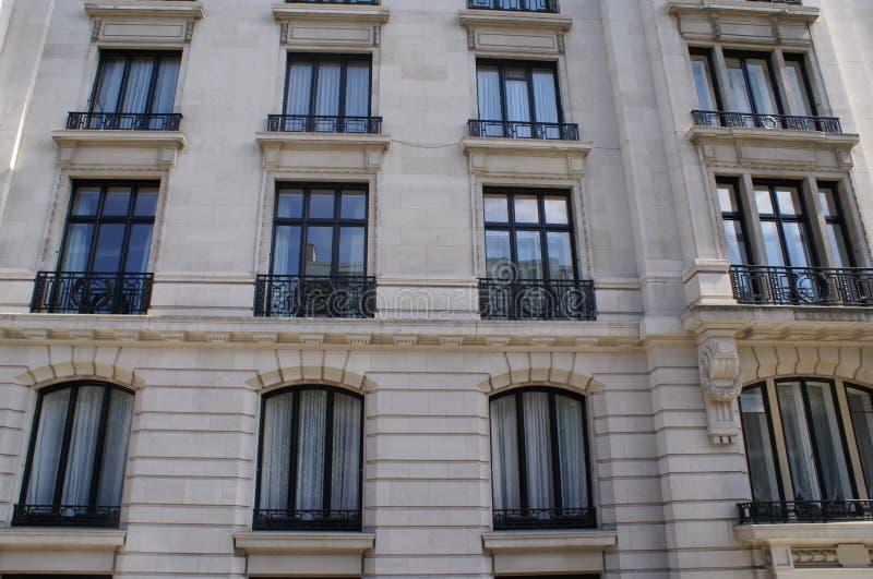 Window balconies. Outdoor view of a facade with window balconies stock image