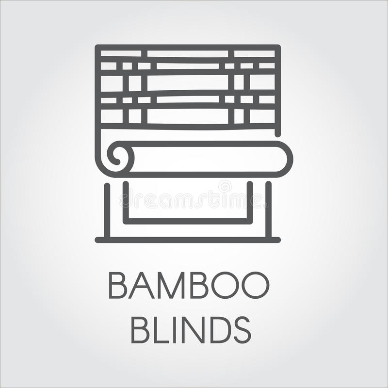 Window bamboo blinds icon in line style. Contour logo for different design needs. House or office decor concept. Vector. Simplicity label stock illustration