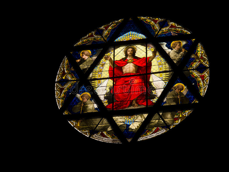 Window of Basel's catherdral. Detail of Stained Glass Window of Cathedral of Basel, Switzerland royalty free stock images