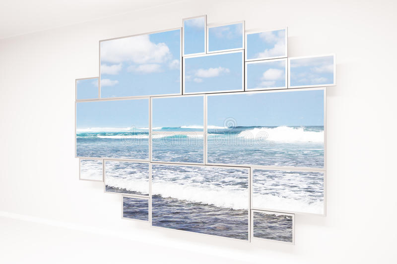 Window with beach view. Concrete wall with creative framed window and beach view. 3D Rendering vector illustration