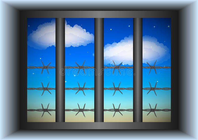 Window behind bars. The view from a prison cell. Window behind bars and barbed wire, blue starry sky with clouds in the background. Vector Illustration stock illustration