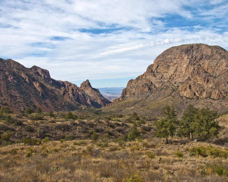 The Window at Big Bend National Park in Texas. A color photo of The Window rock formation at Big Bend National Park in Texas with blue skies and white clouds royalty free stock photography
