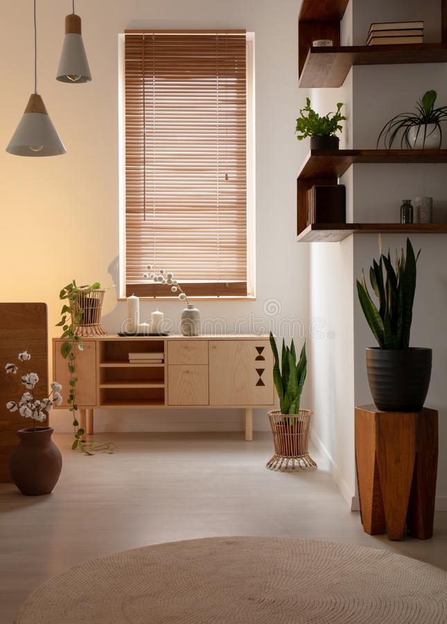 Window with blinds above wooden cupboard in bedroom interior with lamps and plants. Real photo. Concept royalty free stock images
