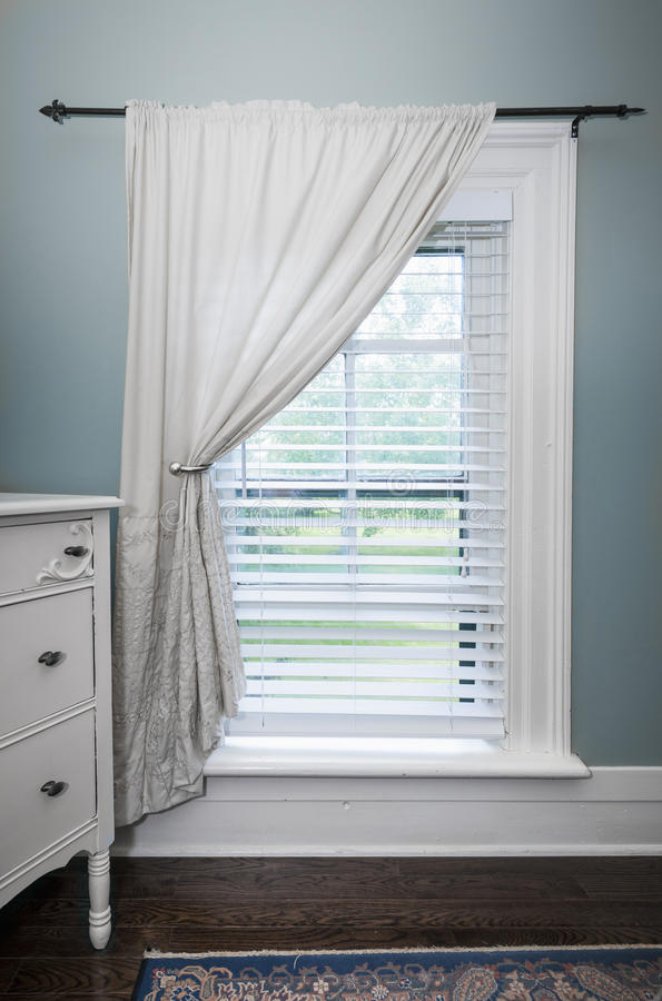 Window With Blinds And Curtain Stock Image Image Of