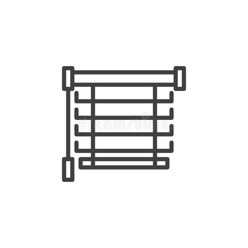 Window blinds line icon. Louvers linear style sign for mobile concept and web design. Jalousie outline vector icon. Symbol, logo illustration. Pixel perfect royalty free illustration