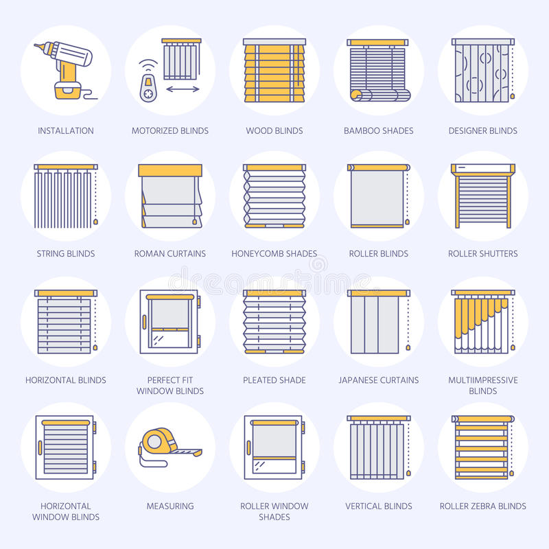 Window blinds, shades line icons. Various room darkening decoration, roller shutters, roman curtains, horizontal and. Vertical jalousie. Interior design thin royalty free illustration