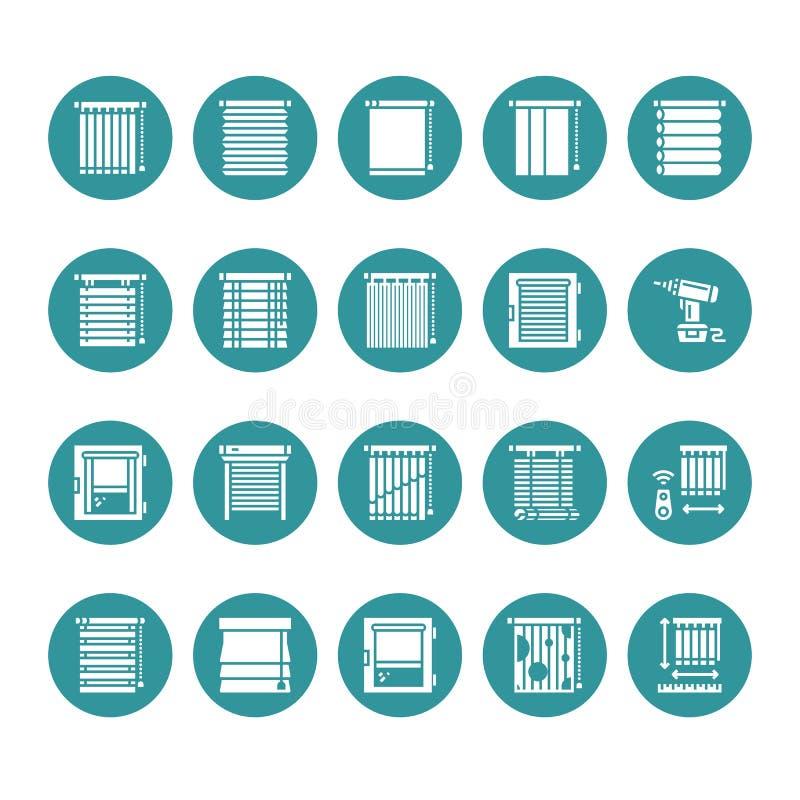 Window blinds, shades vector glyph icons. Various room darkening decoration, roller shutters, roman curtains, horizontal. Vertical jalousie. Interior design stock illustration