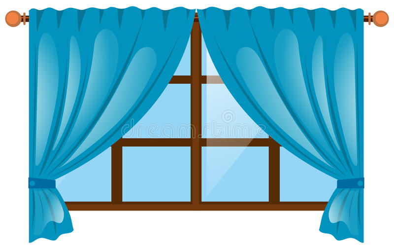 Window with blue curtain royalty free illustration