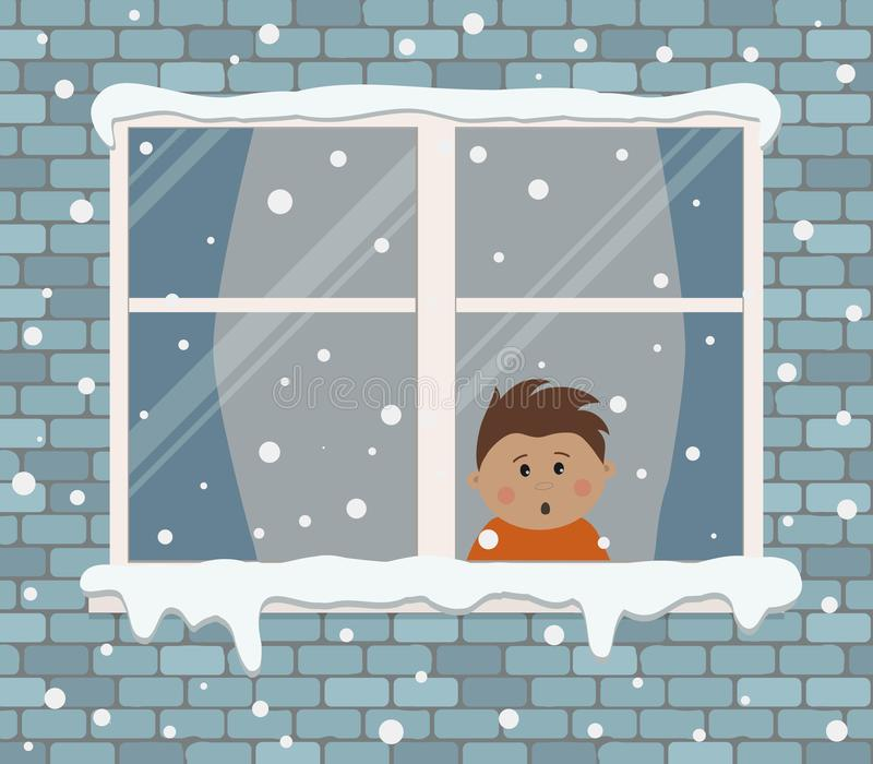 Window on a brick wall on a snowy day. A little boy in the room is surprised, looking at the snow. View from the street side. Winter background. Vector vector illustration