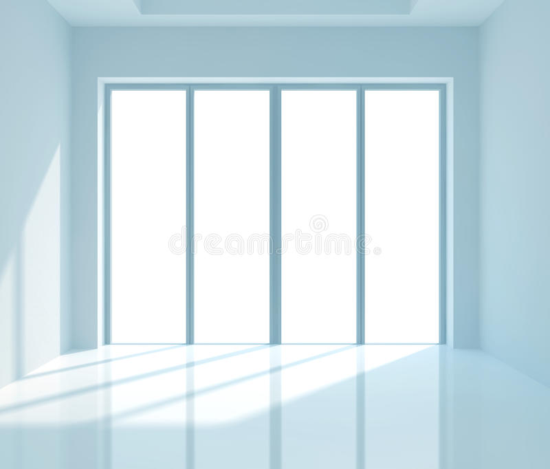 Window. Bright light illuminates an empty room vector illustration