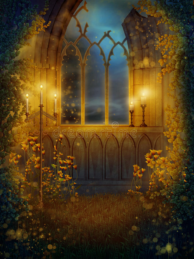 Download Window with candles stock illustration. Image of fantasy - 18096054
