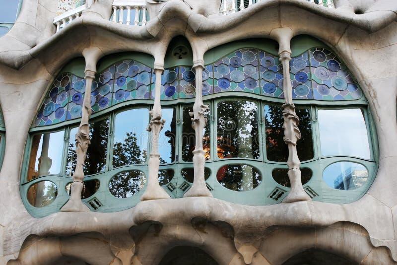 Window of Casa Batllo. By Antonio Gaudi in Barcelona Spain royalty free stock photo