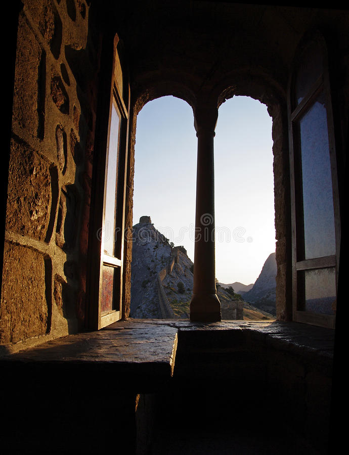 Window in the castle. royalty free stock photography
