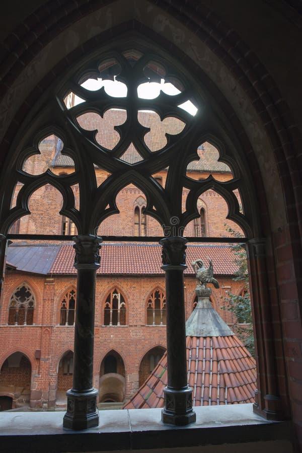View through window Malbork Castle near Gdansk, Poland royalty free stock photos
