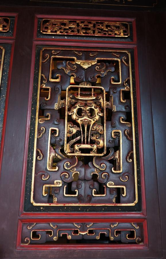 Window Chinese Tao Temple. The photo of the window ornaments in Chinese Tao Temple in Malaysia royalty free stock image