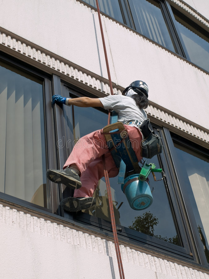 Window cleaner royalty free stock photography