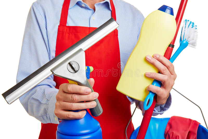 Window cleaner with cleaning supplies royalty free stock images