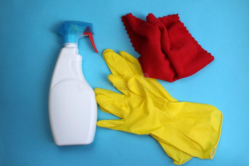 Window cleaner gloves and rag for cleanliness stock photography