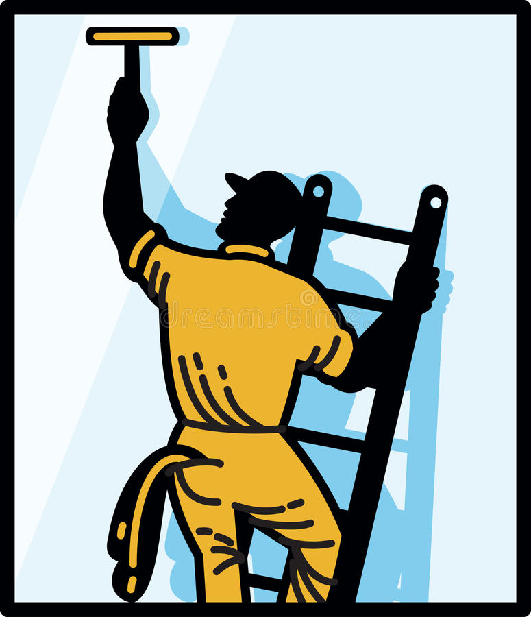 Download Window Cleaner Worker Cleaning Ladder Retro Stock Images - Image: 25163514