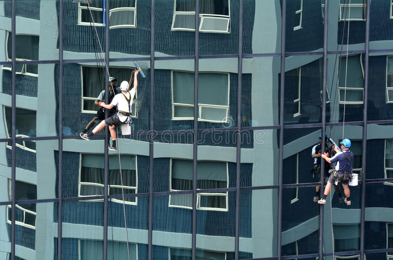 Window Cleaners Works On High Rise Building Editorial Photo - Image ...