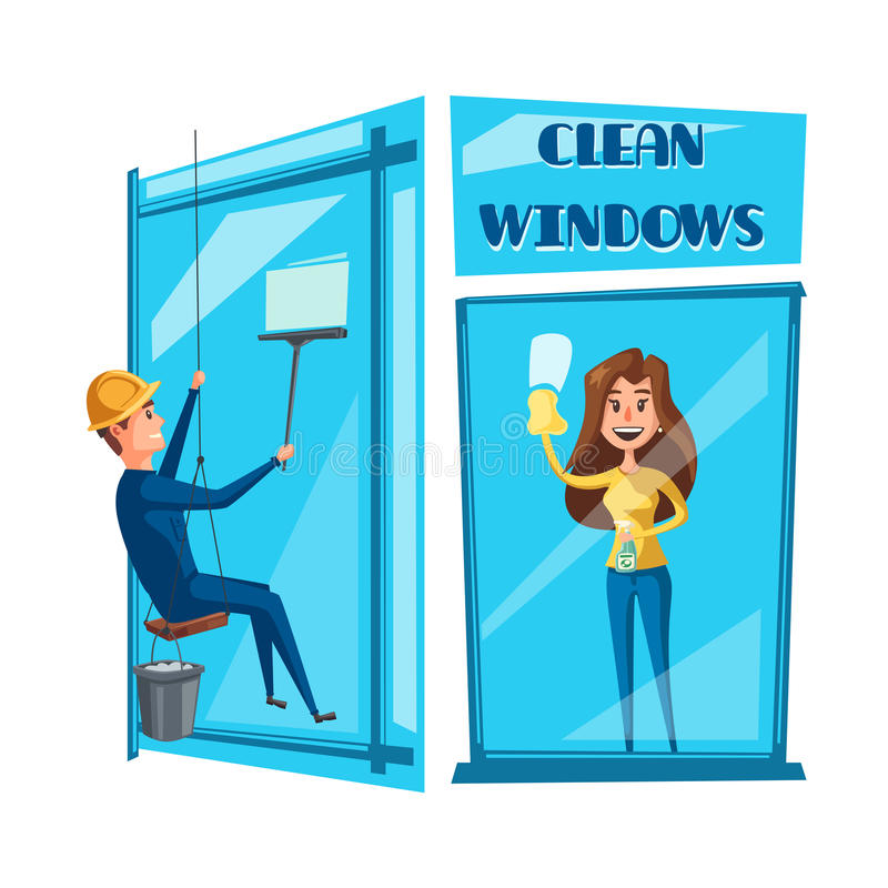 Window cleaning cartoon icon set design stock illustration