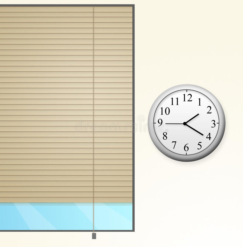 Window with a clock royalty free illustration